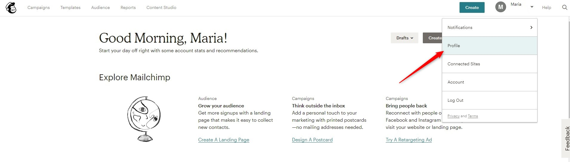 Edit your Mailchimp Profile