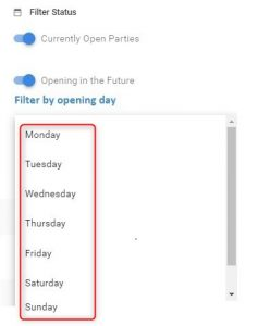Filter the link parties by their opening day
