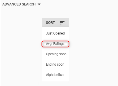 Sort by the average ratings